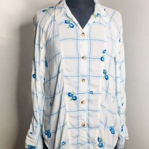 Free People Blue Roses button down Blouse